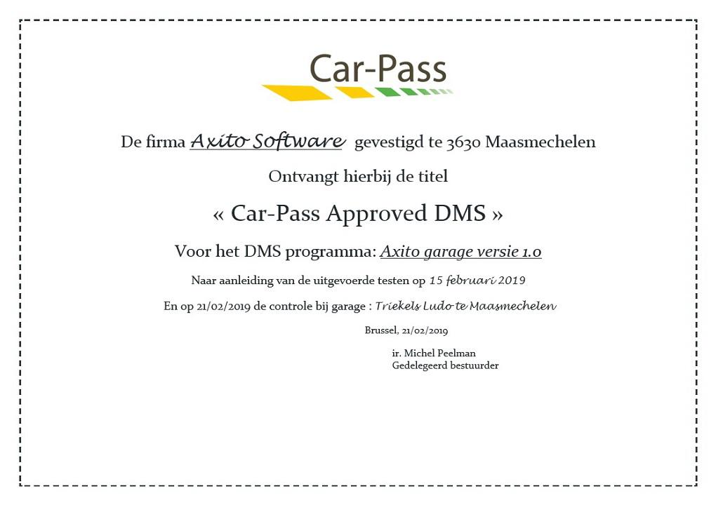 Car-Pass Approved DMS Axito-software voor garages