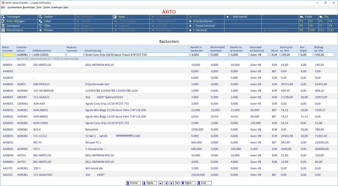 Backorderbeheer AXITO software