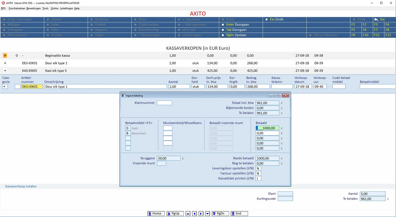 Kassa register en kasregister AXITO software
