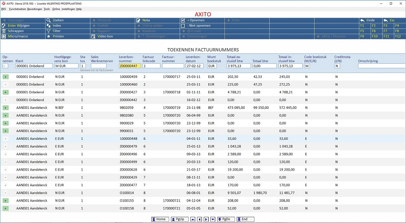 Meerdere leveringsbonnen samen factureren screenshot1 - AXITO software